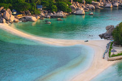 Top view of white sand beach of Nang Yuan Island beautiful desti Royalty Free Stock Images