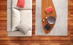 Top view of white sofa in interior design. Top view of white sofa in modern interior design royalty free stock image