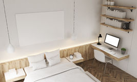 Top view of white walls bedroom Stock Images