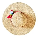 Top view of wide brim straw hat isolated on white royalty free stock images