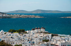 Top View of Windmills and Chora of Mykonos Island Royalty Free Stock Photography