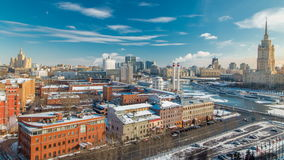 Top view on a winter city Moscow timelapse. Urban landscape with a frozen river stock footage