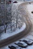 Top view on winter road and a car. Urban landscape Royalty Free Stock Photography