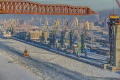 Top view of winter sea port of Saint Petersburg, Russia. Stock Photos