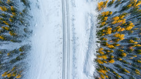 Top view at the wintry two way rail road in evergreen forest Stock Images