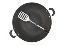 Top view wok and spatula Stock Photography
