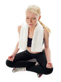 Top View of a woman meditating Stock Images