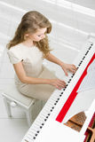 Top view of woman playing piano stock photo
