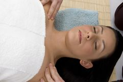 Top view of woman ready to take massage Stock Images