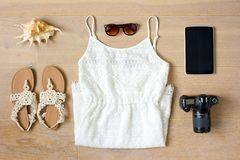 Top view of woman`s clothes and accessories Stock Image