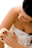 Top view of woman scrubbing her arms Royalty Free Stock Photos