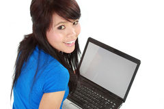 Top view of a woman using a laptop Stock Images