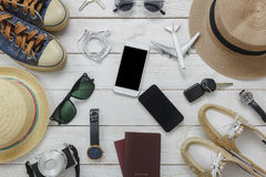 Top view women and man for essentials to travel concept. Royalty Free Stock Image