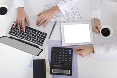 Top view of women`s hands on laptop keyboard Stock Photo