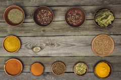 Wooden bowls with different spices Royalty Free Stock Photo