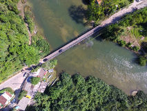 Top View of Wooden Bridge in a Lake Royalty Free Stock Images