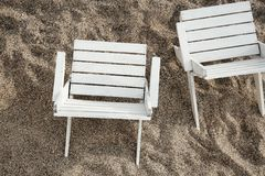 Top view of wooden chairs royalty free stock photography
