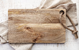 Top view of wooden cutting board Royalty Free Stock Images