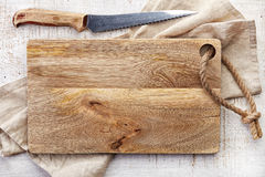 Top view of wooden cutting board Stock Photography