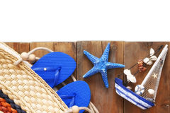Top view of wooden deck with beach accessories Royalty Free Stock Photos
