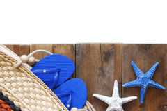Top view of wooden deck with beach accessories Stock Photography