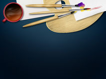 Top view. Wooden desk, cup, paper and pencils. Mock up. Royalty Free Stock Photography