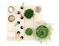 Top view of wooden desk organizer with office supplies isolated Stock Photography
