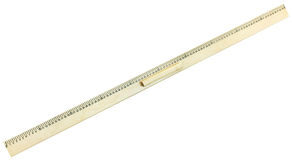 Top view of wooden meter ruler. Isolated on white background Stock Photo