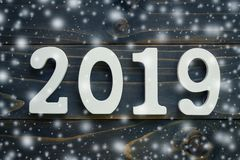 Top view wooden numbers forming the number 2019, For the new yea