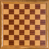 Top view of wooden oak chess Board Stock Image