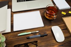 Top view wooden office  desk  with copy space. Image stock image