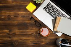Top view wooden office  desk  with copy space. Image stock images