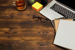 Top view wooden office  desk  with copy space. Image royalty free stock images
