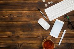 Top view wooden office  desk  with copy space. Image stock photo