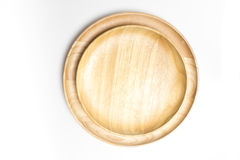 Top view wooden plate or tray isolated white background Royalty Free Stock Photo