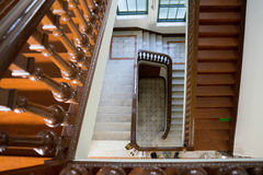 Top view of wooden stair Royalty Free Stock Image