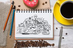 Coffee break with snack Royalty Free Stock Images