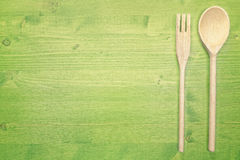 Top view wooden utensil Royalty Free Stock Photography