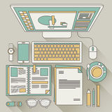 Top view of work place concept Stock Images