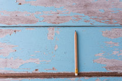 Top view work space brown pencil on old blue wood table backgrou Stock Images