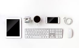 Top view work space with tablet and computer Royalty Free Stock Photography