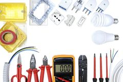 Top view of work tools and components for residential electrical installation on white background. Stock Photo