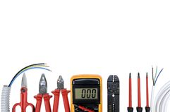 Top view of work tools for residential electrical installation on white background. Royalty Free Stock Photos