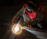 Top view of worker work hard with welding process Stock Photo