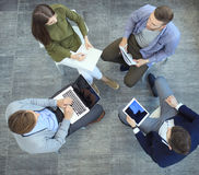 Top view of working business group sitting during corporate meeting. Royalty Free Stock Photos