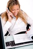 Top view of working businesswoman Royalty Free Stock Photography