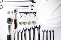 Top view of Working construction and mechanic tools,wrench,socket, safty helmet,safety glasses stock photos