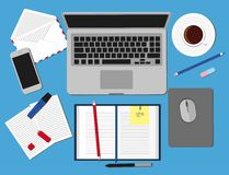 Top view of working place elements on table. Set three of Flat vector design illustration of modern business office and workspace Royalty Free Stock Photography