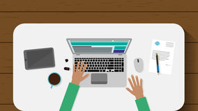 Top view of working place with laptop and documents on wood backgroung. Flat design web-surfing businessman. Vector illustration. Top view of working place with Stock Images