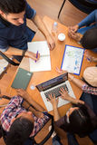 Top view of working table and workgroup Stock Photos